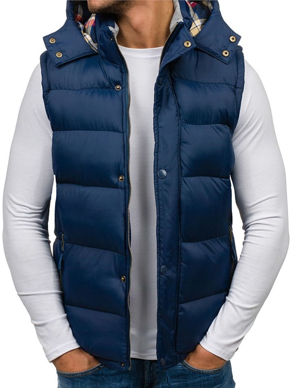 Navy Blue Men's Hooded Vest Bolf K114
