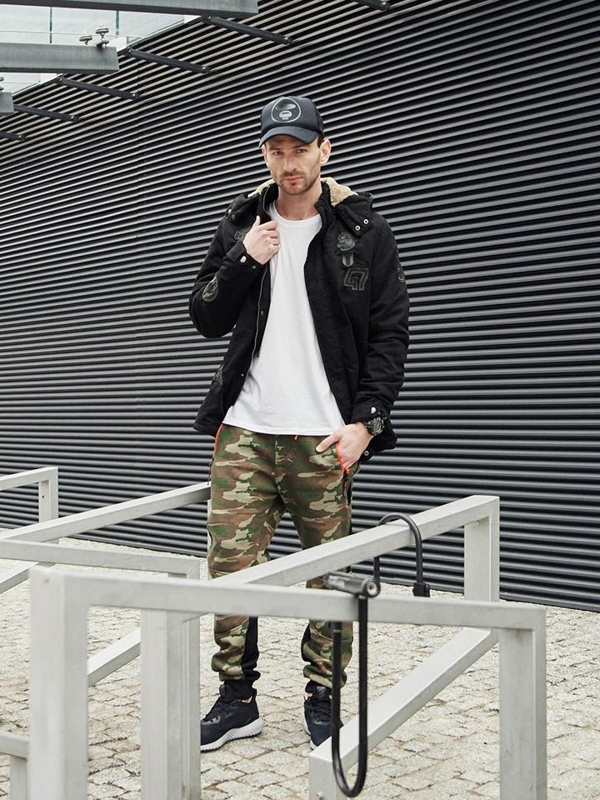 Outfit No. 381 - Watch, Winter Parka Jacket, Long Sleeve Top, Camo Joggers