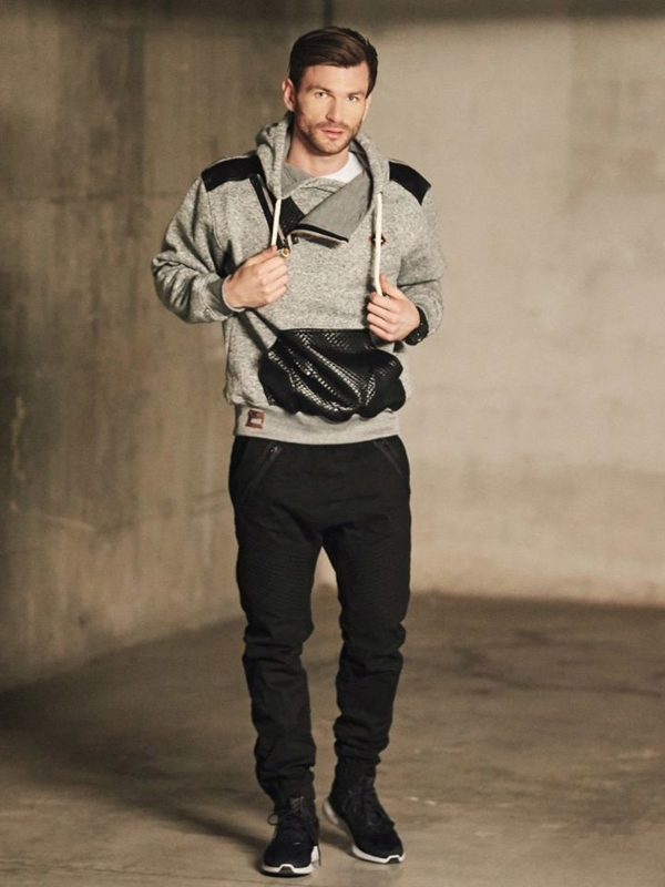 Outfit No. 410 - Watch, Hoodie, Plain Long Sleeve Top, Cargo Trousers