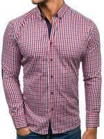 Red-Navy Blue Men's Checked Long Sleeve Shirt Bolf 1931