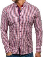 Red-Navy Blue Men's Checked Long Sleeve Shirt Bolf 2125
