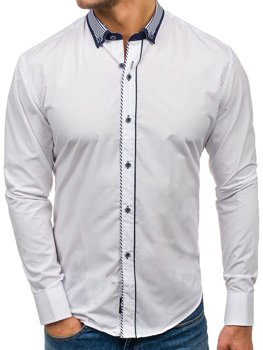 White Men's Elegant Long Sleeve Shirt Bolf 6941