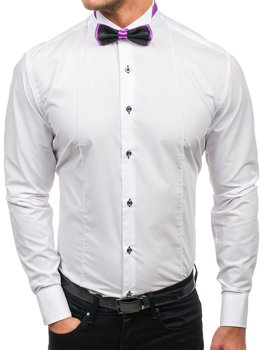 White Men's Elegant Long Sleeve Shirt with Bow Tie Bolf 5786