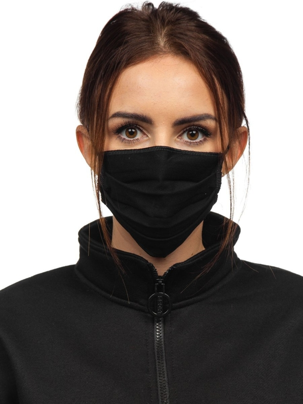 Women's Double-layered Reusable Protective Face Mask Black Bolf 001