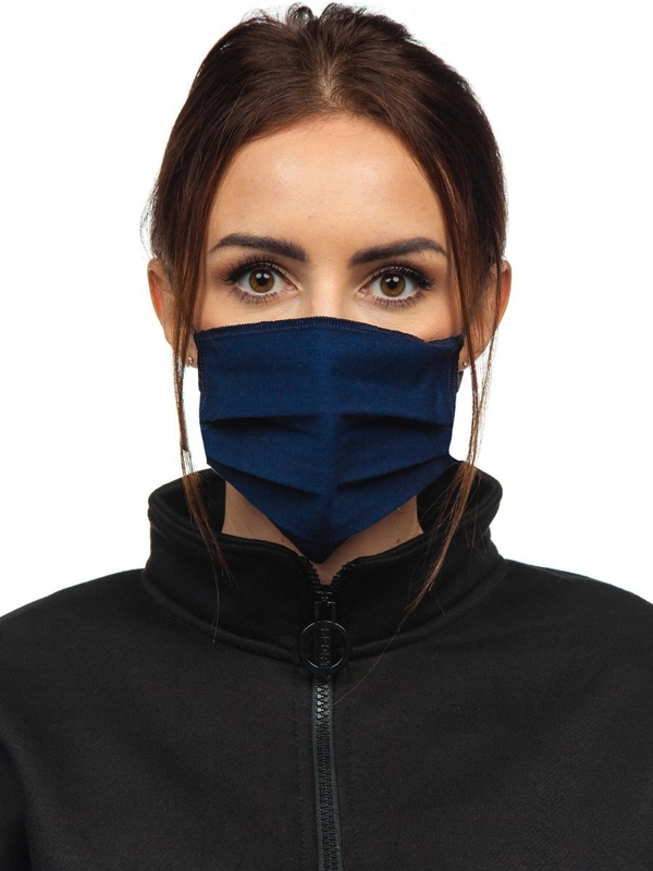 Women's Double-layered Reusable Protective Face Mask Navy Blue Bolf 001