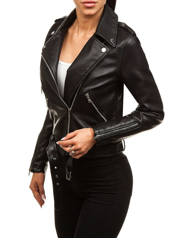 Women's Leather Jacket Black Bolf 8891