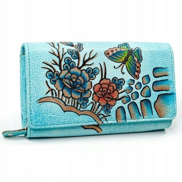 Women's Leather Wallet niebieski 3090