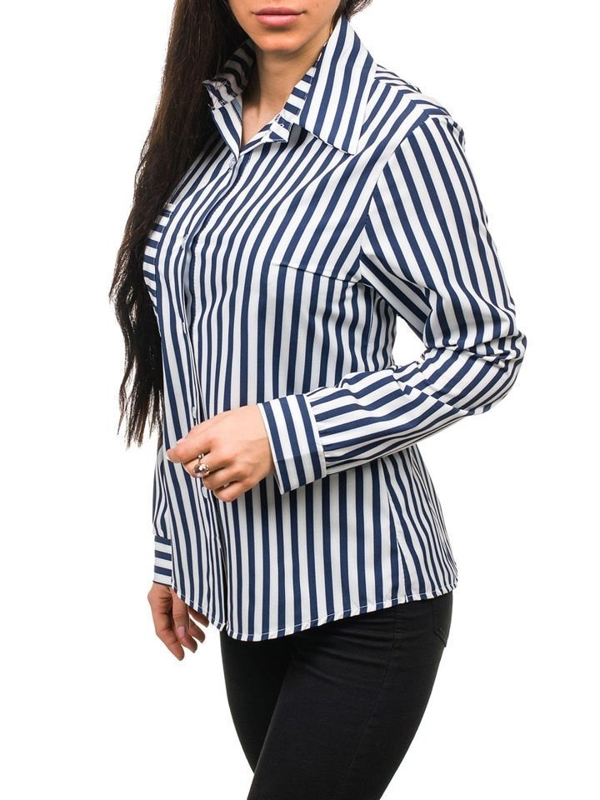 Women's Shirt White-Navy Blue Bolf 1735