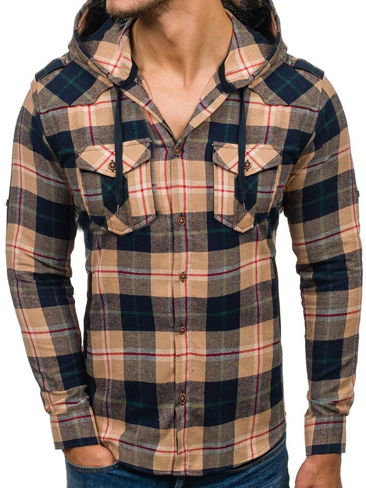 44f11a4bf5 ... Beige Men s Flannel Long Sleeve Shirt Bolf 2500 ...