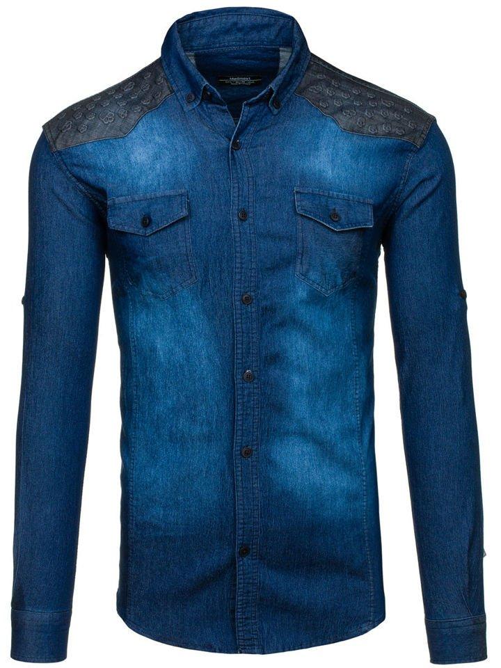 6e1ea82bc0b Men s Long Sleeve Patterned Denim Shirt Navy Blue Bolf 0517 NAVY BLUE