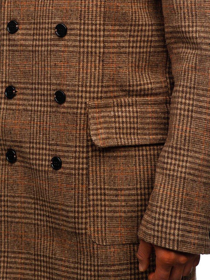 Men S Winter Coat Brown Bolf 1117, Brown Check Winter Coat