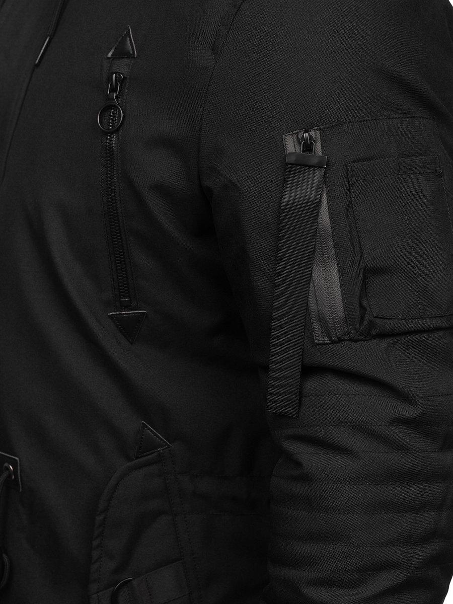 Winter Parka Jacket Black Bolf 1068, Mens Long Black Winter Coats