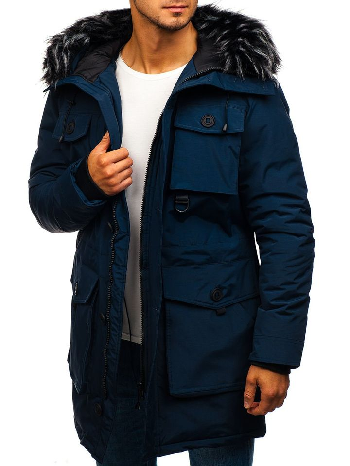 Winter Jacket C 7013 in navy blue