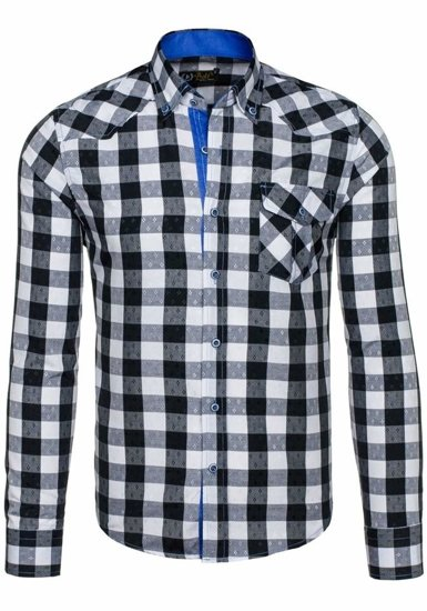 Black Men's Checked Long Sleeve Shirt Bolf 5774