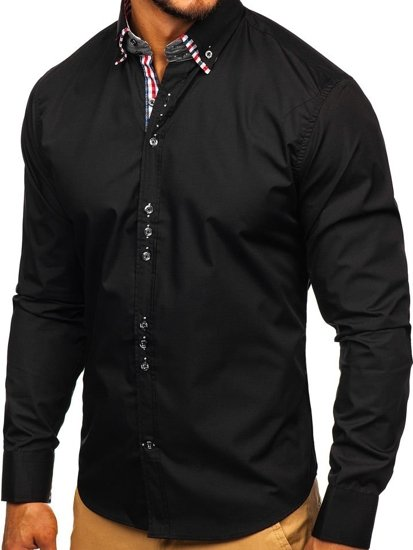 Black Men's Elegant Long Sleeve Shirt Bolf 0926