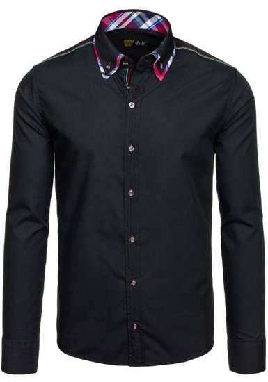 Black Men's Elegant Long Sleeve Shirt Bolf 3701