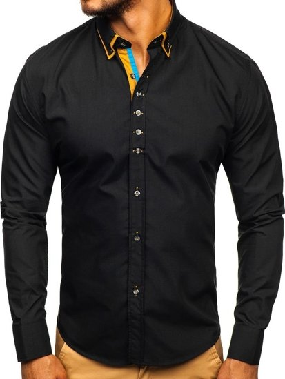 Black Men's Elegant Long Sleeve Shirt Bolf 3708