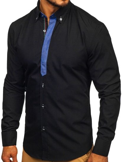 Black Men's Elegant Long Sleeve Shirt Bolf 3725