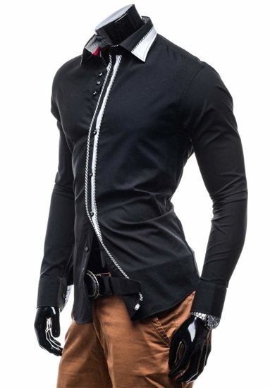 Black Men's Elegant Long Sleeve Shirt Bolf 3761