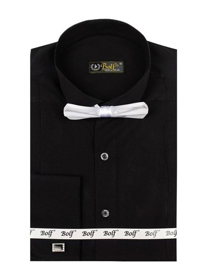 Black Men's Elegant Long Sleeve Shirt Bolf 4702 Bow Tie + Cufflinks