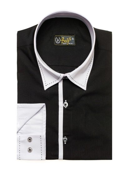 Black Men's Elegant Long Sleeve Shirt Bolf 4750