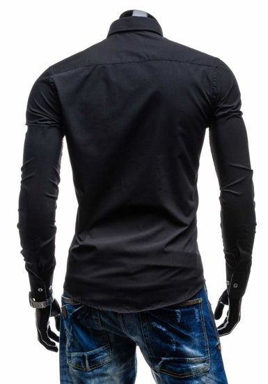 Black Men's Elegant Long Sleeve Shirt Bolf 4761
