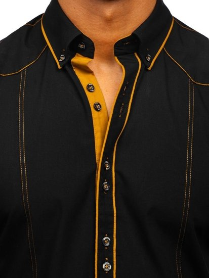 Black Men's Elegant Long Sleeve Shirt Bolf 4777