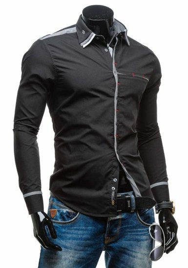Black Men's Elegant Long Sleeve Shirt Bolf 4781-1