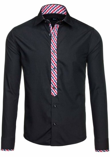 Black Men's Elegant Long Sleeve Shirt Bolf 6867