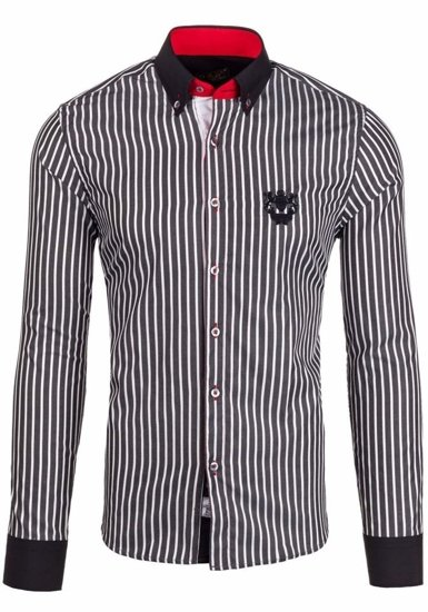 Black Men's Elegant Striped Long Sleeve Shirt Bolf 5738