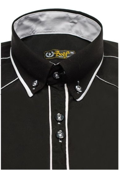 Black-White Men's Elegant Long Sleeve Shirt Bolf 4777