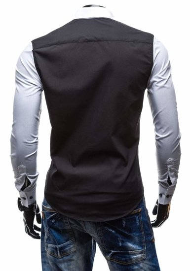 Black-White Men's Elegant Long Sleeve Shirt Bolf 5723
