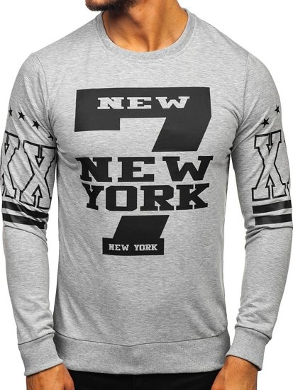 Men's Printed Sweatshirt Grey Bolf 0384