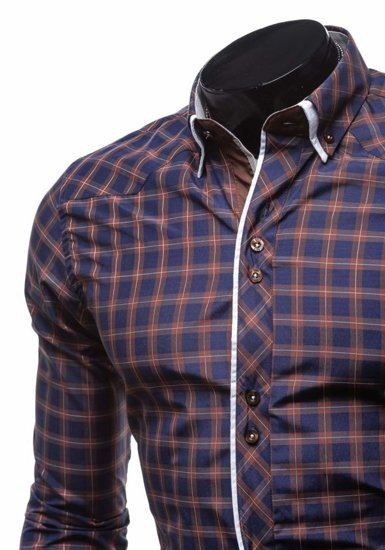Brown Men's Elegant Checked Long Sleeve Shirt Bolf 5742