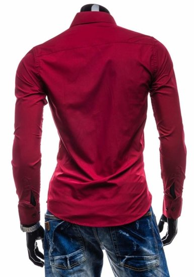 Claret Men's Elegant Long Sleeve Shirt Bolf 4705