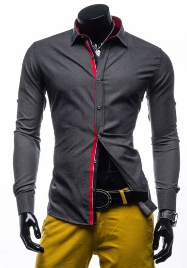 Graphite Men's Elegant Long Sleeve Shirt Bolf 204