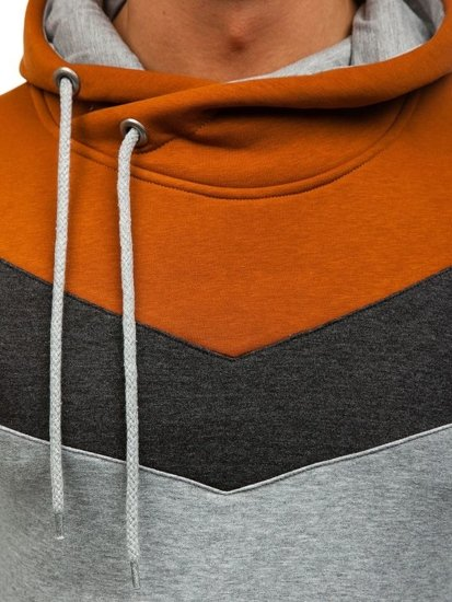 Grey-Brown Men's Hoodie Bolf 4597