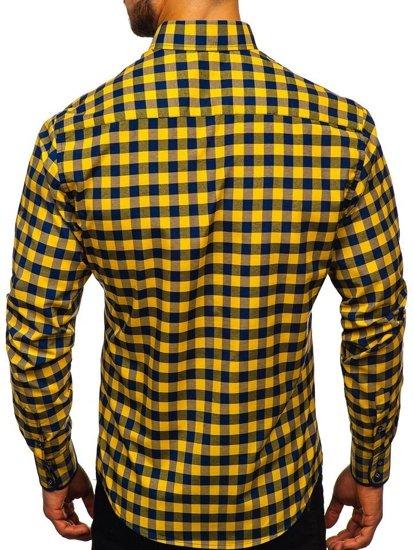 Men's Checkered Long Sleeve Shirt Yellow Bolf 4701