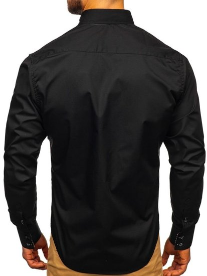 Men's Elegant Long Sleeve Shirt Black Bolf 0926