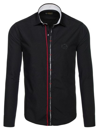 Men's Elegant Long Sleeve Shirt Black Bolf 1769