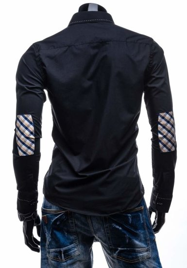 Men's Elegant Long Sleeve Shirt Black Bolf 3720