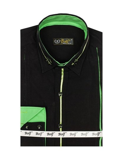 Men's Elegant Long Sleeve Shirt Black-Green Bolf 2964