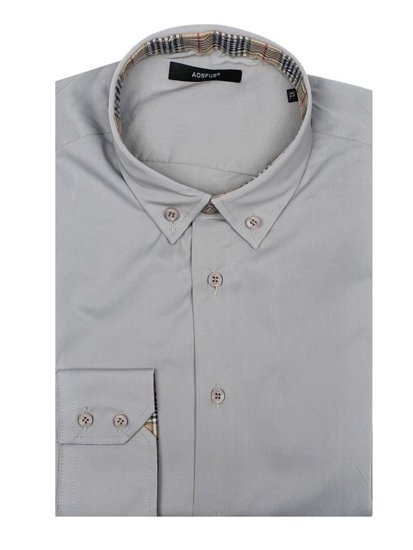 Men's Elegant Long Sleeve Shirt Grey Bolf 7197