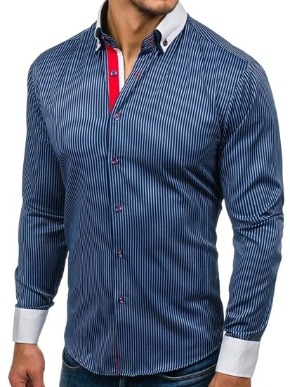 Men's Elegant Long Sleeve Shirt Navy Blue Bolf 2790