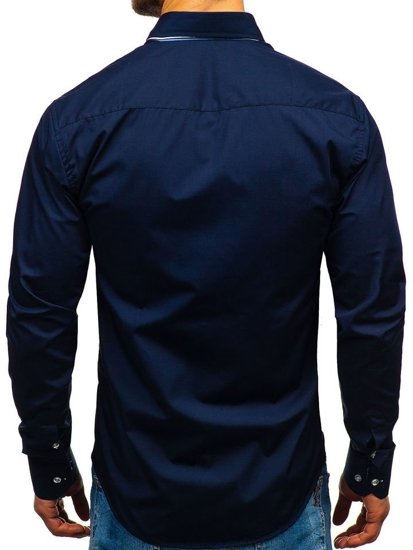 Men's Elegant Long Sleeve Shirt Navy Blue Bolf 4703