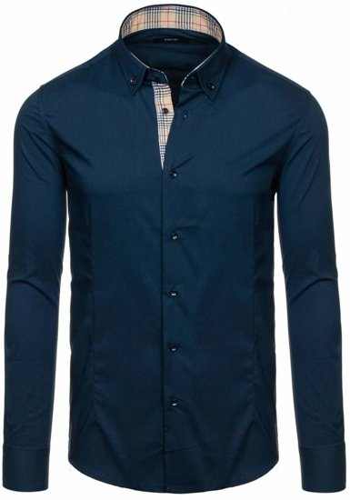 Men's Elegant Long Sleeve Shirt Navy Blue Bolf 7197