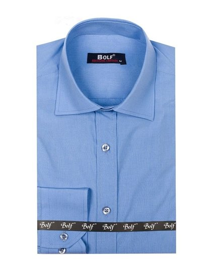 Men's Elegant Long Sleeve Shirt Sky Blue Bolf 1703