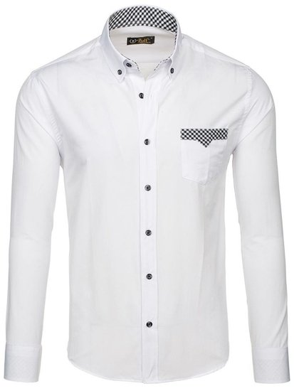 Men's Elegant Long Sleeve Shirt White Bolf 4711