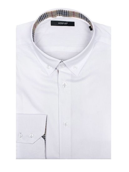 Men's Elegant Long Sleeve Shirt White Bolf 7197