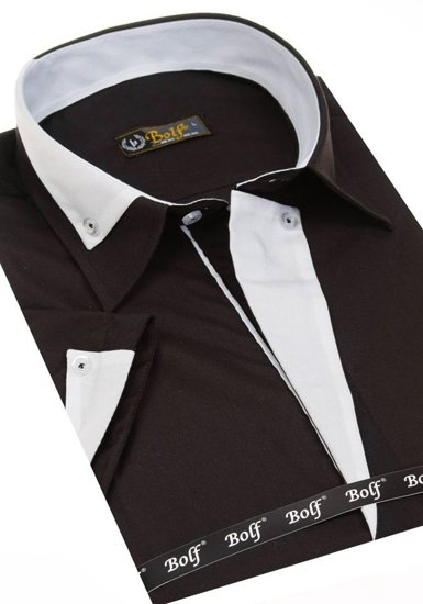 Men's Elegant Short Sleeve Shirt Black Bolf 4715